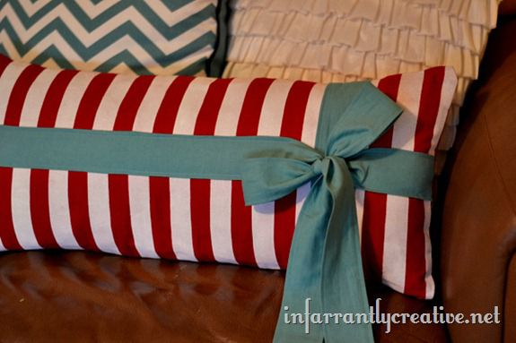 Striped Lumbar Pillow With Bow Infarrantly Creative
