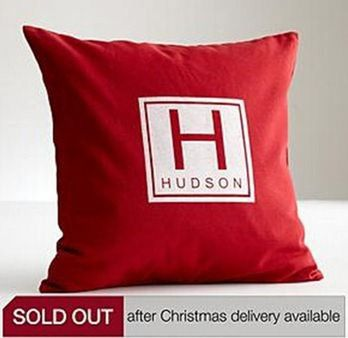 red envelope monogram pillow