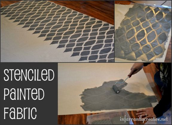 stenciled painted fabric