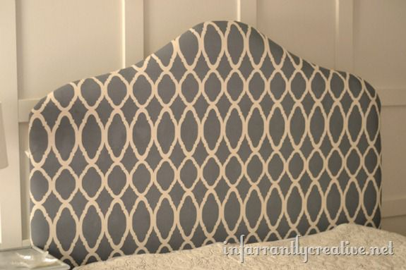 upholstered gray headboard