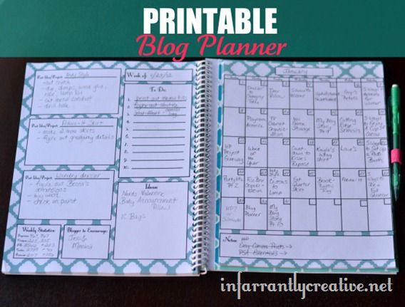 Printable blog planner from Infarrantly Creative