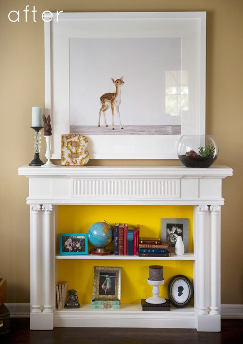 Design sponge featured this bookshelf fireplace you can read about