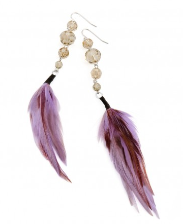 feather earrings in purple