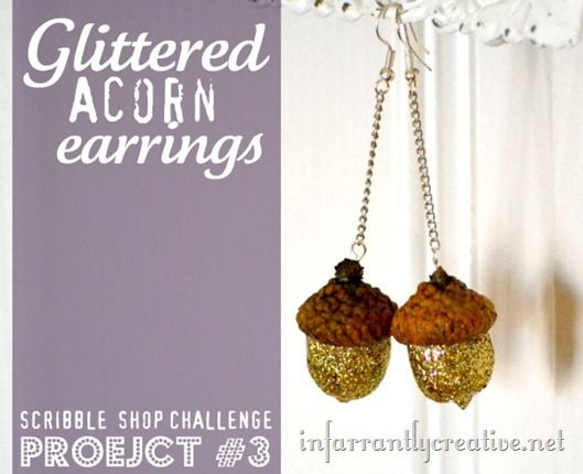glittered-acorn-earrings